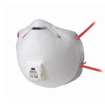8833 - фильтрующая полумаска 3-й степени защиты с клапаном выдоха и уплотнителем по всей полосе обтюрации