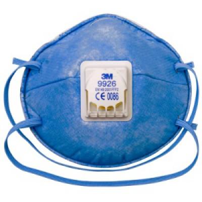 9926Р - фильтрующая полумаска для защиты от аэрозолей 2-ой степени защиты с дополнительной защитой от кислых газов и паров (с клапаном выдоха)